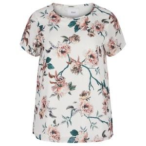 Bedrukte blouse met boothals en korte mouwen ZIZZI