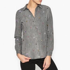 Grey Denim Shirt with Embroidered Motifs MAISON SCOTCH