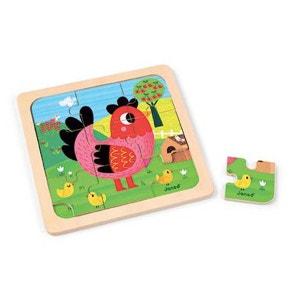 Puzzle Bois Poule Violette 9 Pièces - JURJ07064 JANOD