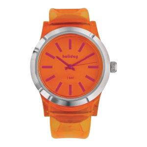 Montre Holiday Translucide Orange Ecrin Boîte Plastique Acier Inoxydable SO CHIC BIJOUX