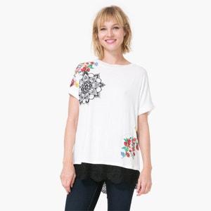 T-shirt w kwiaty, z koronkowym krótkim rękawem DESIGUAL