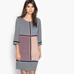 Halflange, bedrukte rechte jurk met 3/4 mouwen ANNE WEYBURN