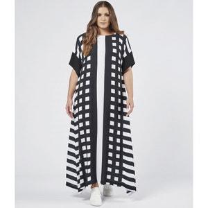 Wijduitlopende lange jurk met grafische print MAT FASHION