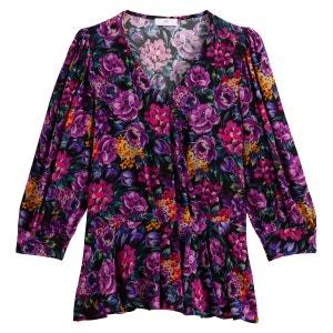 Blusa cruzada con estampado de flores