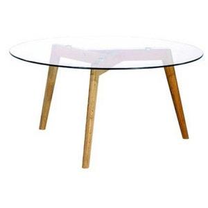 Table basse ronde plateau verre transparent FIORD DECLIKDECO