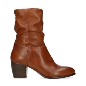 Bottes courtes effet plissé en cuir marron femmes – SACHA