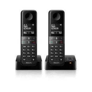Téléphone répondeur sans fil duo PHILIPS D455 Noir PHILIPS