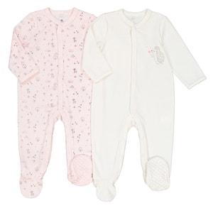 Set van 2 geboorte pyjama's in fluweel, prema - 2 jaar