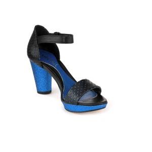 Sandales a talon en cuir et paillettes noir et bleu SEREINE ABIGAIL