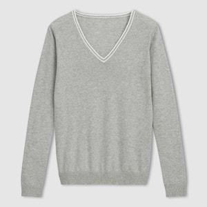 Camisola com decote em V, algodão R essentiel