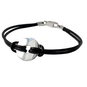 Bracelet Homme argent et cuir fermoir mousqueton Argent COTE MECS
