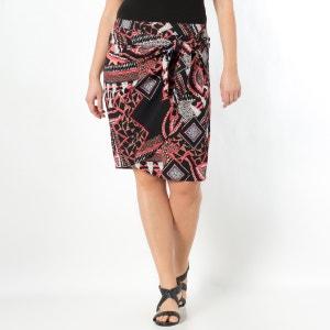 Falda con faldones cruzados superpuestos estampada TAILLISSIME