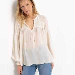 Bluzka w paski z lureksu z szrokimi rękawami R studio