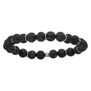 Bracelet Elastique Perles Noires Pierre de Lave Noire Rond Argent 925 SO CHIC BIJOUX