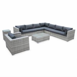 Salon de jardin en résine tressée nuances de gris coussins gris 10 places Venezia fauteuil canapé ALICE S GARDEN