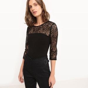 T-shirt body, dentelle, manches longues MADEMOISELLE R