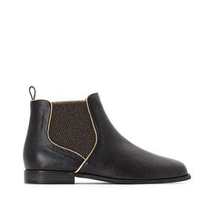 Chelsea boots met goudkleurige elastiek