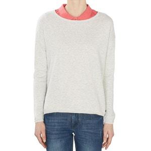 Camisola de gola redonda, puro algodão ESPRIT