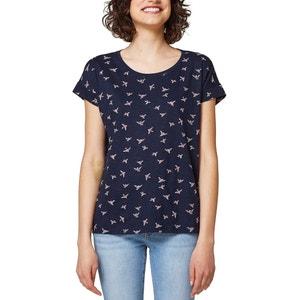 Camiseta estampada, cuello redondo, manga corta, 100% algodón ESPRIT