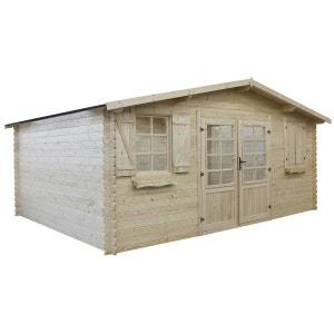 Abri jardin bois traité autoclave - 22.80 m² - 5.26 x 4.32 x 2.46 m - 28 mm HABITAT ET JARDIN