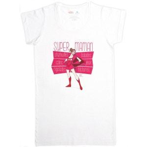 T-shirt femme long blanc en coton Super Maman RIGOLOBO
