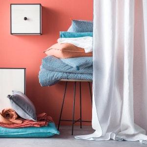Rideau en 100% lin lavé, uni, blanc bourdon contrasté bleu, oeuillets en metal. BLANC CERISE