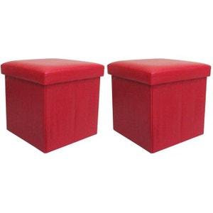 Jeu de 2 Poufs coffres pliants rouges DECLIKDECO