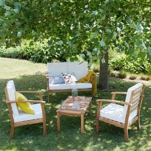 Salon bas de jardin en bois d'acacia BOIS DESSUS BOIS DESSOUS