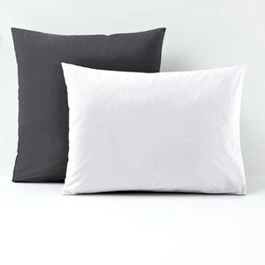 Two-Tone Cotton Percale Single Pillowcase La Redoute Interieurs