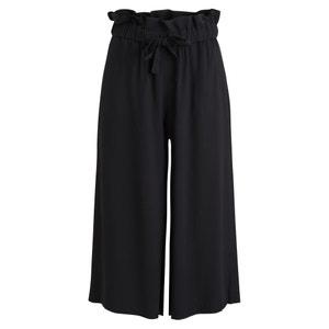 Verkorte wijde broek met elastische brede tailleband VILA