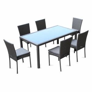 Salon de jardin en résine tressée 6 chaises, Gris, table d'extérieur design ALICE S GARDEN