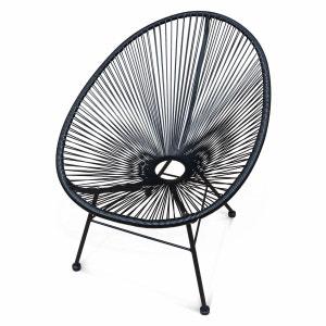 Fauteuil Acapulco chaise oeuf design rétro cordage Noir ALICE S GARDEN