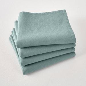 Lot de 4 serviettes de table Victorine, en lin lav La Redoute Interieurs