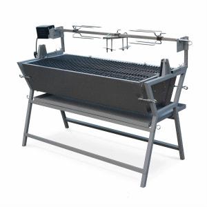 Rôtissoire électrique inclinable Mathurin inox, tournebroche, barbecue au charbon de bois à moteur pour grillades réceptions ALICE S GARDEN