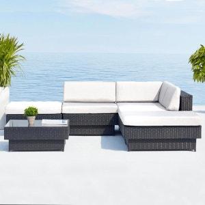 Amorgos : salon de jardin d'angle en résine 4 fils tressée noire poly rotin CONCEPT USINE