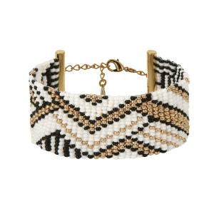 Bracelet tissé main en perles à motifs ethniques AMAHLE