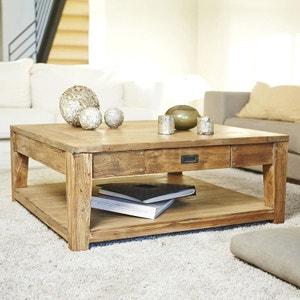 Table basse carrée en bois de teck recyclé double plateau 100 BOIS DESSUS BOIS DESSOUS