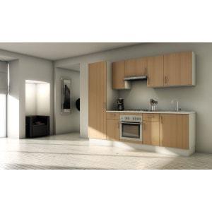 Pack cuisine complète MARBELLA Hêtre 260cm - Meubles en kit 10 éléments MENNZA