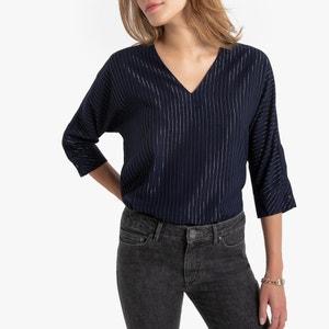 Gestreepte blouse met V-hals, lurexdraad