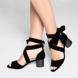 Sandales aspect velours lien cheville MADEMOISELLE R
