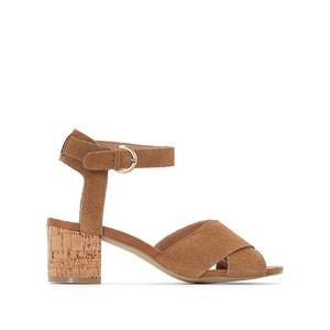 Sandálias com tacão de cortiça, pele (croute) CASTALUNA