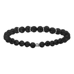 Bracelet Elastique Boules Perles Noires Pierre de Lave Argent 925 SO CHIC BIJOUX