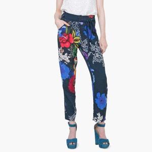 Pantalón recto, estampado de flores DESIGUAL