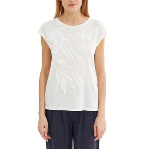 Short-Sleeved T-Shirt with Leaf Motif ESPRIT