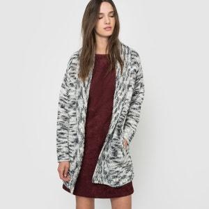 Lang vest in mêlee tricot met sjaalkraag ESPRIT