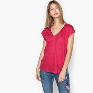 Plain Short-Sleeved V-Neck T-Shirt SUD EXPRESS
