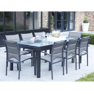 Ensemble table et chaises de jardin MODULO 8 PLACES GRIS WILSA