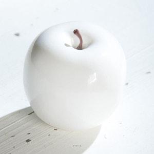 Pomme artificielle Blanche brillante D 14 cm. Tres bel objet déco. ARTIFICIELLES