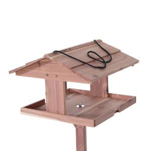 Mangeoire oiseaux sur pied grande taille avec toit et corde de suspension bois massif de pin 50 x 50 x 119 cm - PAWHUT PAWHUT