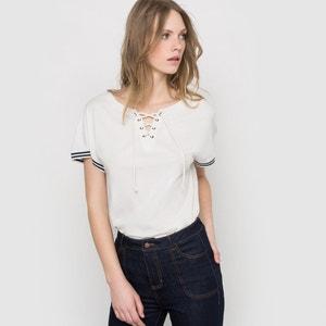 T-shirt uni col à lacet R essentiel